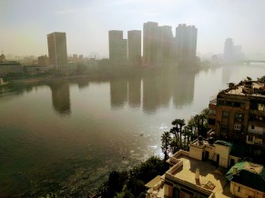 Haze over Cairo caused by farmers in the Delta treating their fields with fire.