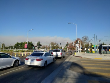 Fire smoke over West LA looking north along Westwood Blvd from Exposition crossing.