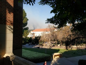 Bel Air mansion on fire as seen from Kerkhoff terrace, UCLA, at about 11 AM yesterday.